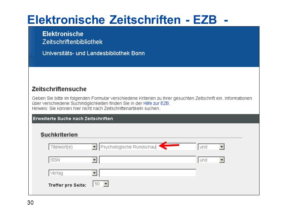 30 Elektronische Zeitschriften - EZB -