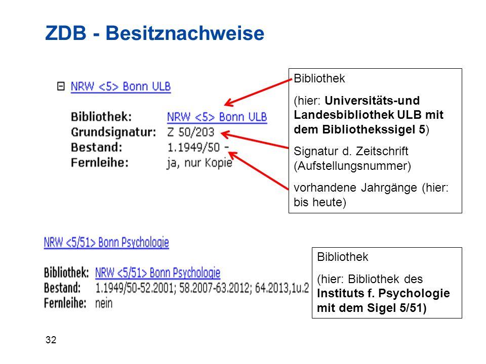 32 ZDB - Besitznachweise Bibliothek (hier: Universitäts-und Landesbibliothek ULB mit dem Bibliothekssigel 5) Signatur d.