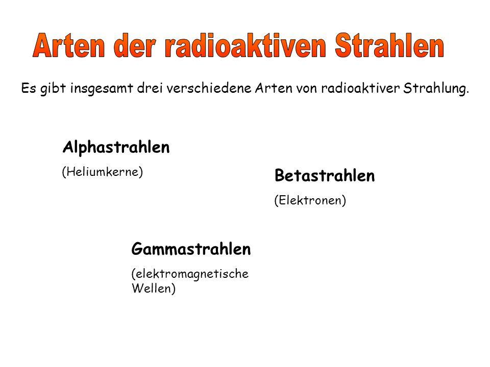 Es gibt insgesamt drei verschiedene Arten von radioaktiver Strahlung.