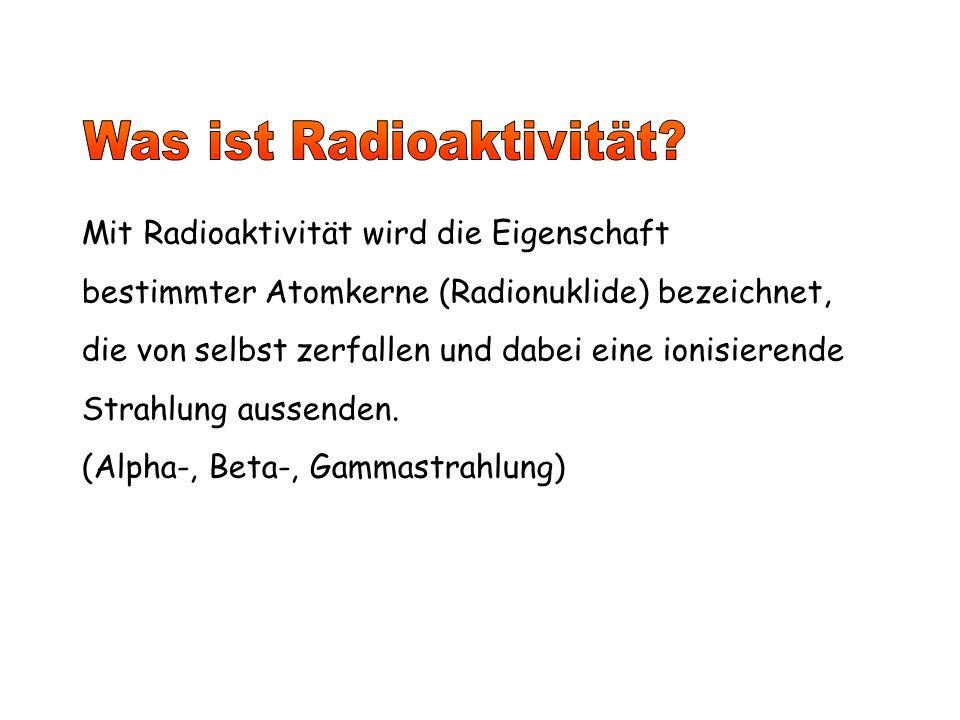 Mit Radioaktivität wird die Eigenschaft bestimmter Atomkerne (Radionuklide) bezeichnet, die von selbst zerfallen und dabei eine ionisierende Strahlung aussenden.