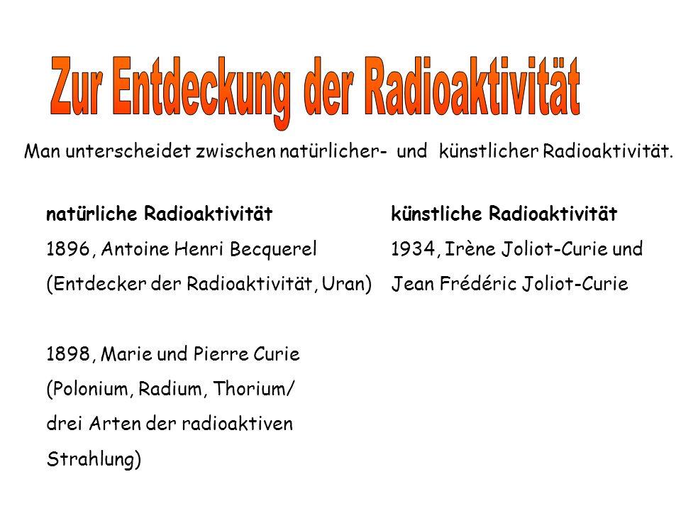 Man unterscheidet zwischen natürlicher- und künstlicher Radioaktivität.