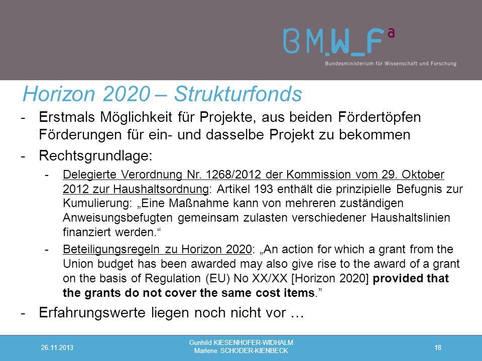 18 Horizon 2020 – Strukturfonds 26.11.2013 Gunhild KIESENHOFER-WIDHALM Marlene SCHODER-KIENBECK -Erstmals Möglichkeit für Projekte, aus beiden Fördertöpfen Förderungen für ein- und dasselbe Projekt zu bekommen -Rechtsgrundlage: -Delegierte Verordnung Nr.