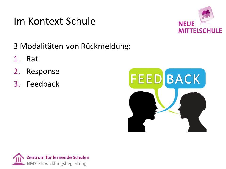 Im Kontext Schule 3 Modalitäten von Rückmeldung: 1.Rat 2.Response 3.Feedback