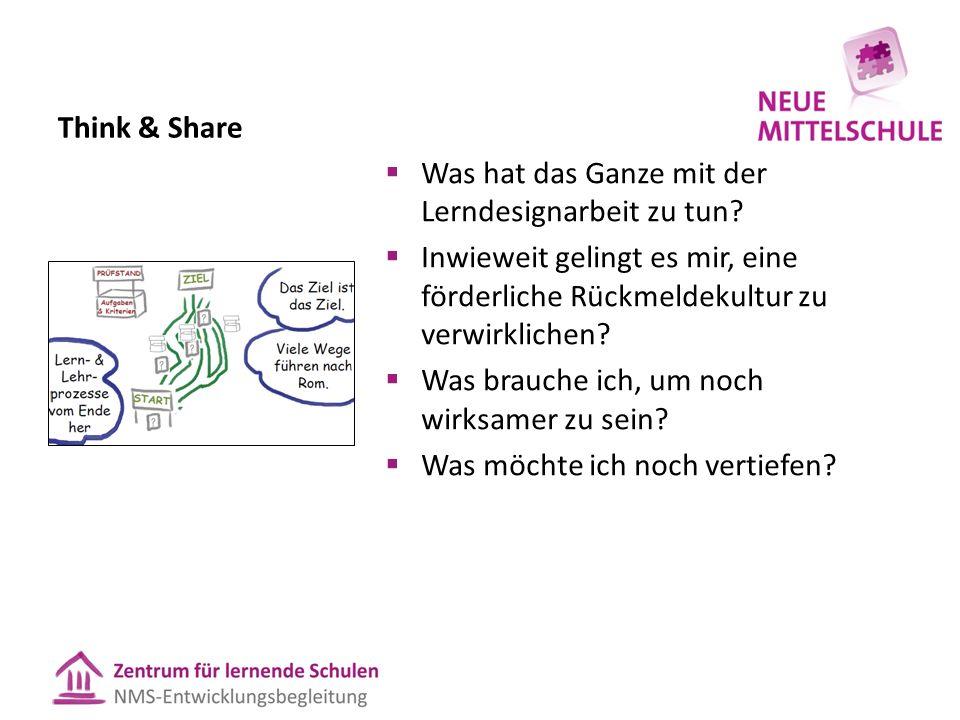Think & Share  Was hat das Ganze mit der Lerndesignarbeit zu tun.