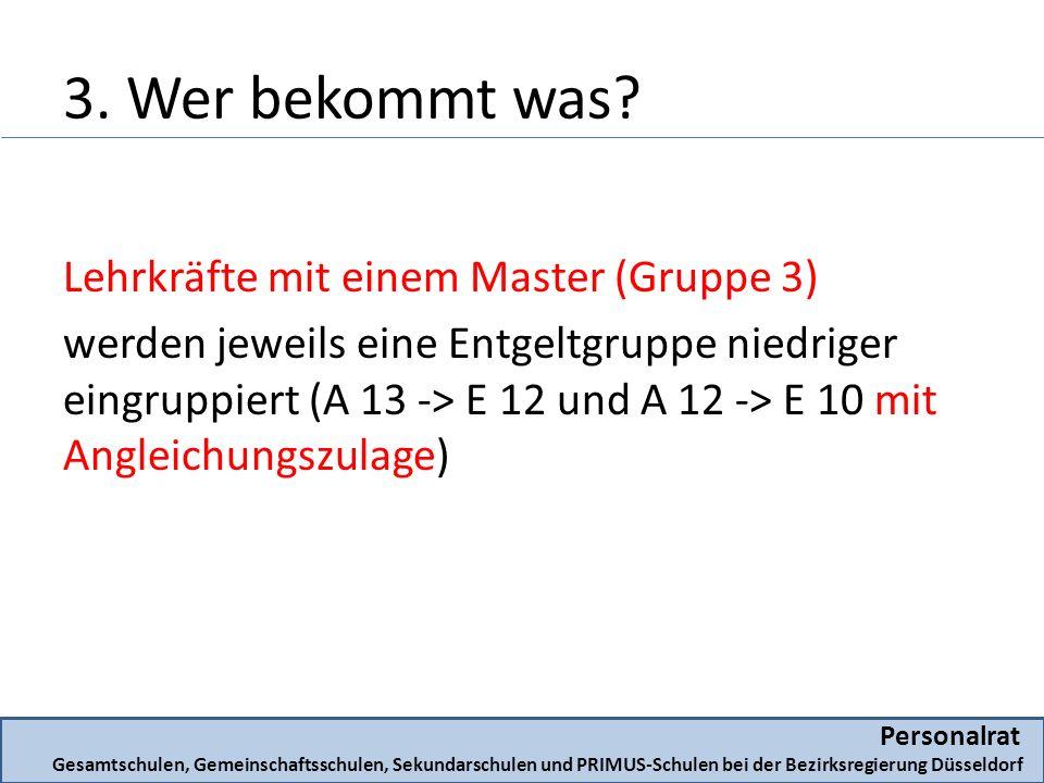 Lehrkräfte mit einem Master (Gruppe 3) werden jeweils eine Entgeltgruppe niedriger eingruppiert (A 13 -> E 12 und A 12 -> E 10 mit Angleichungszulage) Personalrat Gesamtschulen, Gemeinschaftsschulen, Sekundarschulen und PRIMUS-Schulen bei der Bezirksregierung Düsseldorf 3.