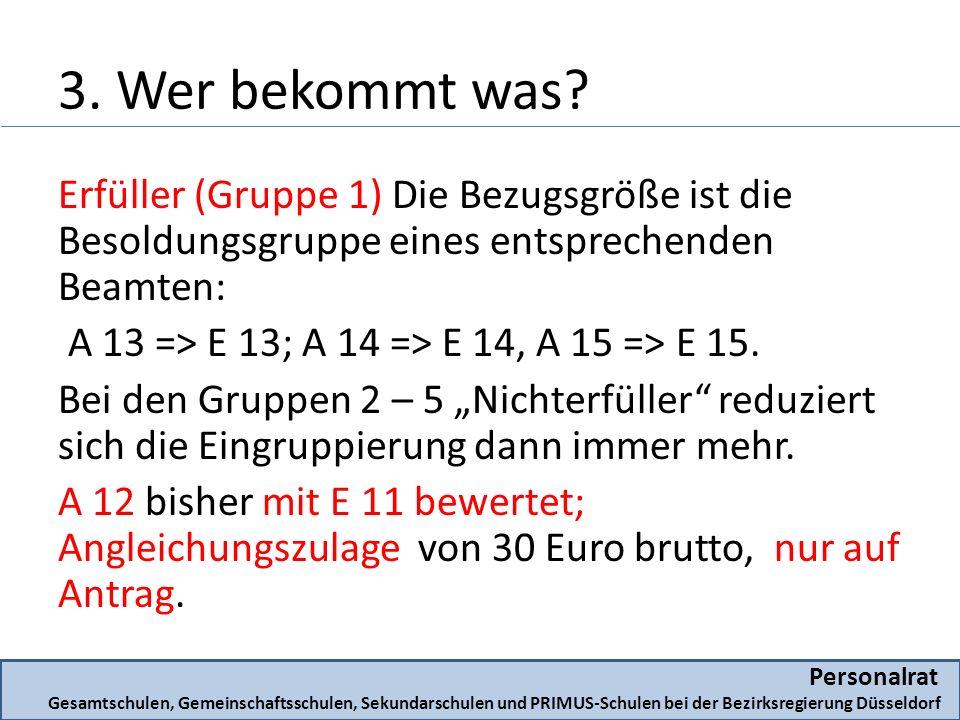 3. Wer bekommt was? Erfüller (Gruppe 1) Die Bezugsgröße ist die Besoldungsgruppe eines entsprechenden Beamten: A 13 => E 13; A 14 => E 14, A 15 => E 1