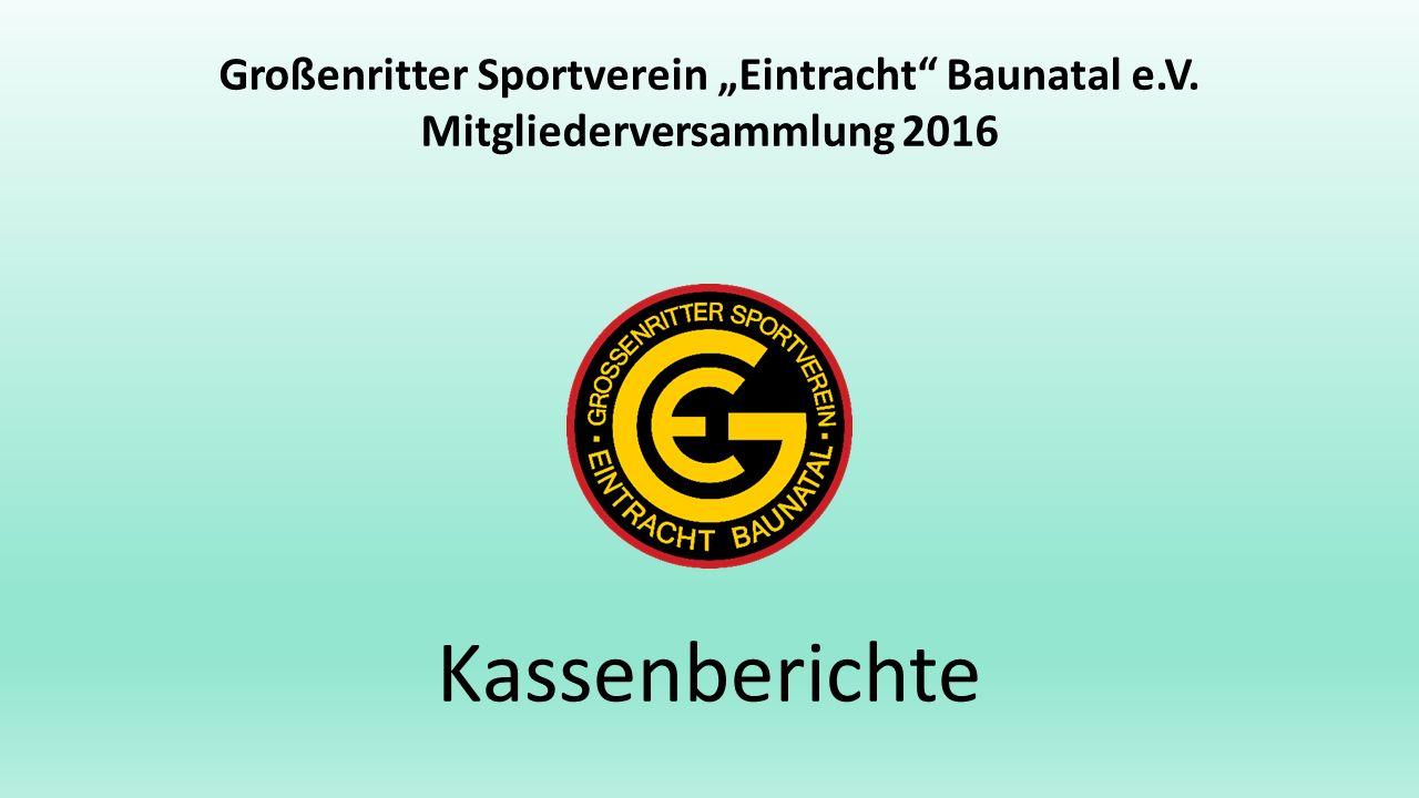 """Großenritter Sportverein """"Eintracht Baunatal e.V. Mitgliederversammlung 2016 Kassenberichte"""