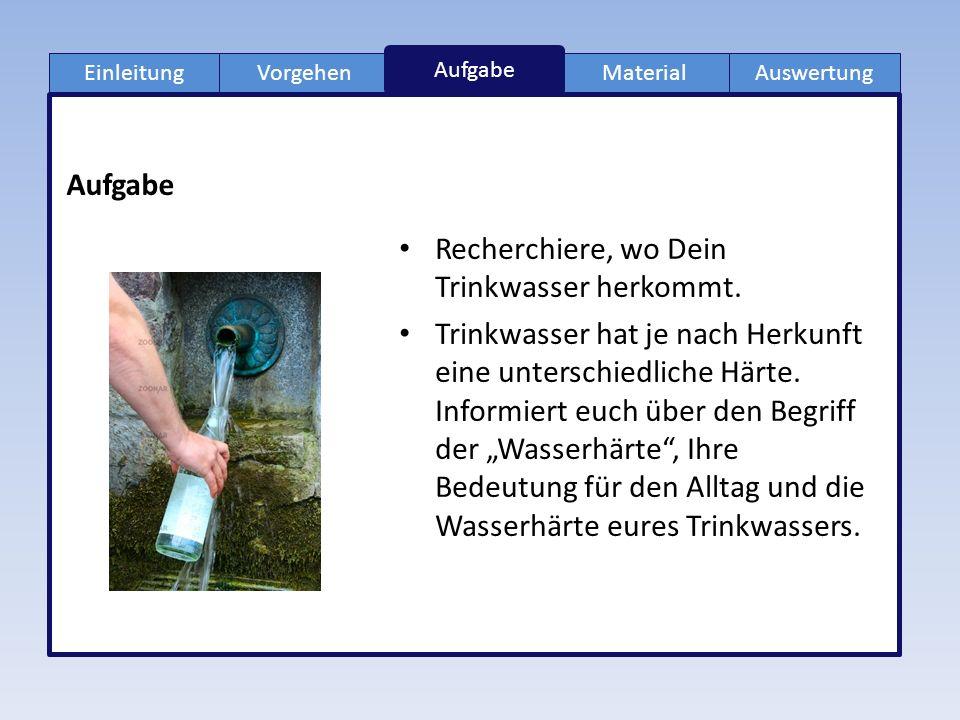 EinleitungVorgehenMaterialAuswertung Aufgabe Recherchiere, wo Dein Trinkwasser herkommt.