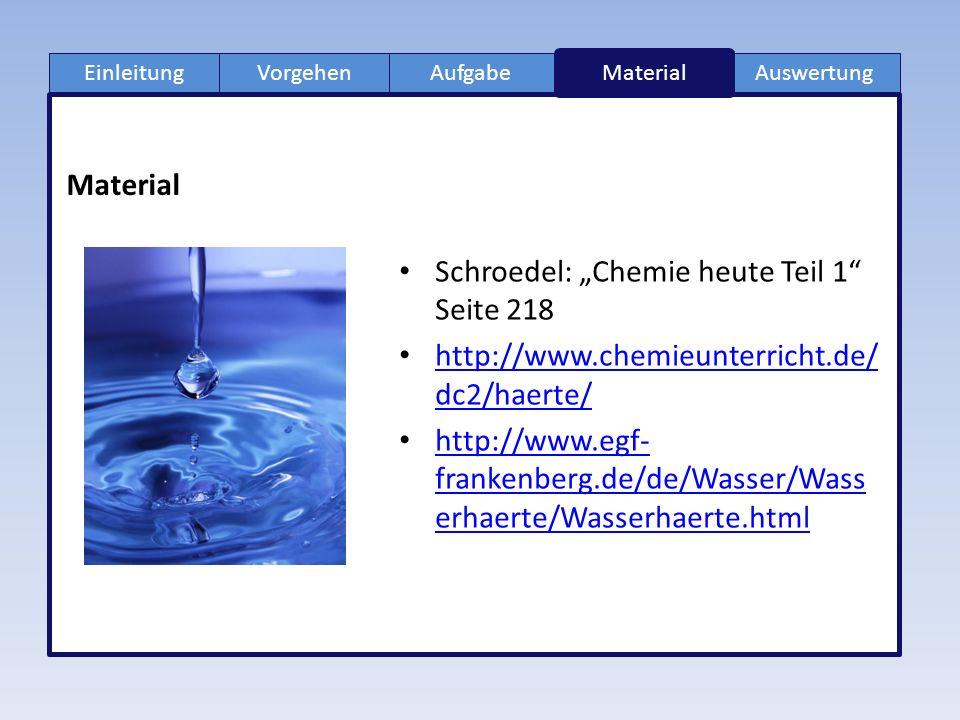 """EinleitungAufgabeVorgehenAuswertung Material Schroedel: """"Chemie heute Teil 1 Seite 218 http://www.chemieunterricht.de/ dc2/haerte/ http://www.chemieunterricht.de/ dc2/haerte/ http://www.egf- frankenberg.de/de/Wasser/Wass erhaerte/Wasserhaerte.html http://www.egf- frankenberg.de/de/Wasser/Wass erhaerte/Wasserhaerte.html"""