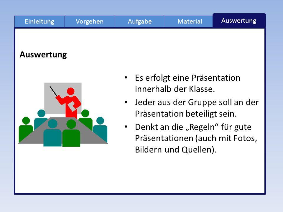 EinleitungAufgabeVorgehenMaterial Auswertung Es erfolgt eine Präsentation innerhalb der Klasse.
