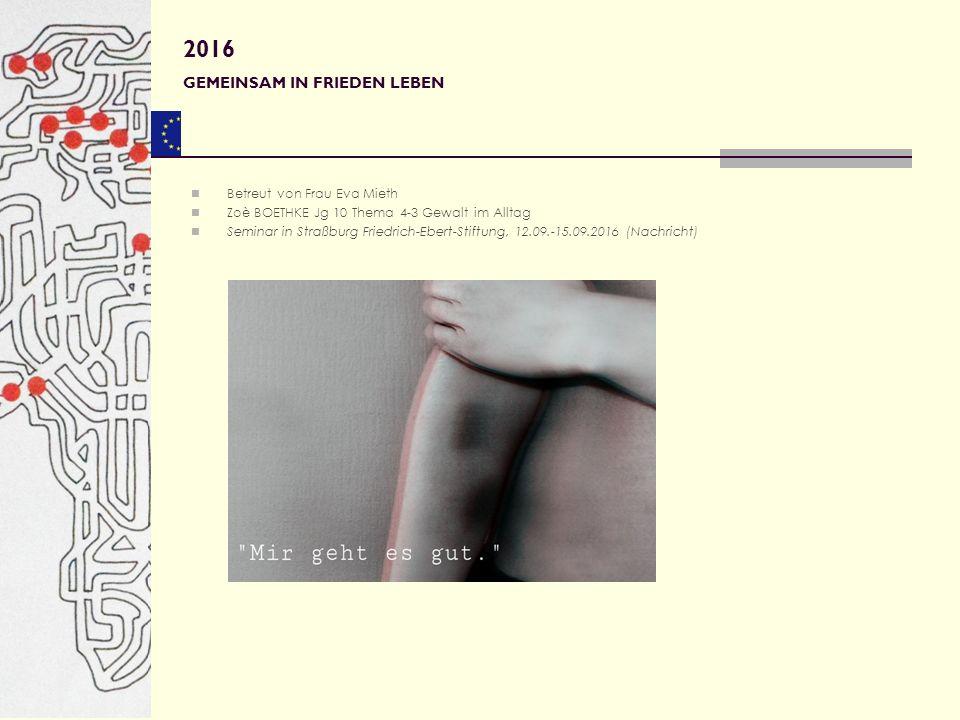 Betreut von Frau Eva Mieth Zoè BOETHKE Jg 10 Thema 4-3 Gewalt im Alltag Seminar in Straßburg Friedrich-Ebert-Stiftung, 12.09.-15.09.2016 (Nachricht) 2