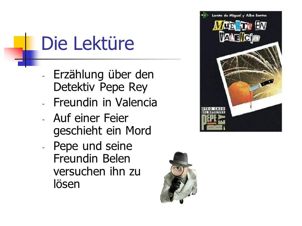 Die Lektüre - Erzählung über den Detektiv Pepe Rey - Freundin in Valencia - Auf einer Feier geschieht ein Mord - Pepe und seine Freundin Belen versuch