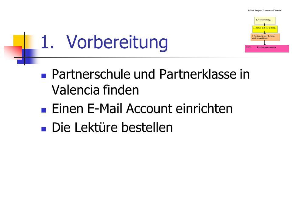1.Vorbereitung Partnerschule und Partnerklasse in Valencia finden Einen E-Mail Account einrichten Die Lektüre bestellen