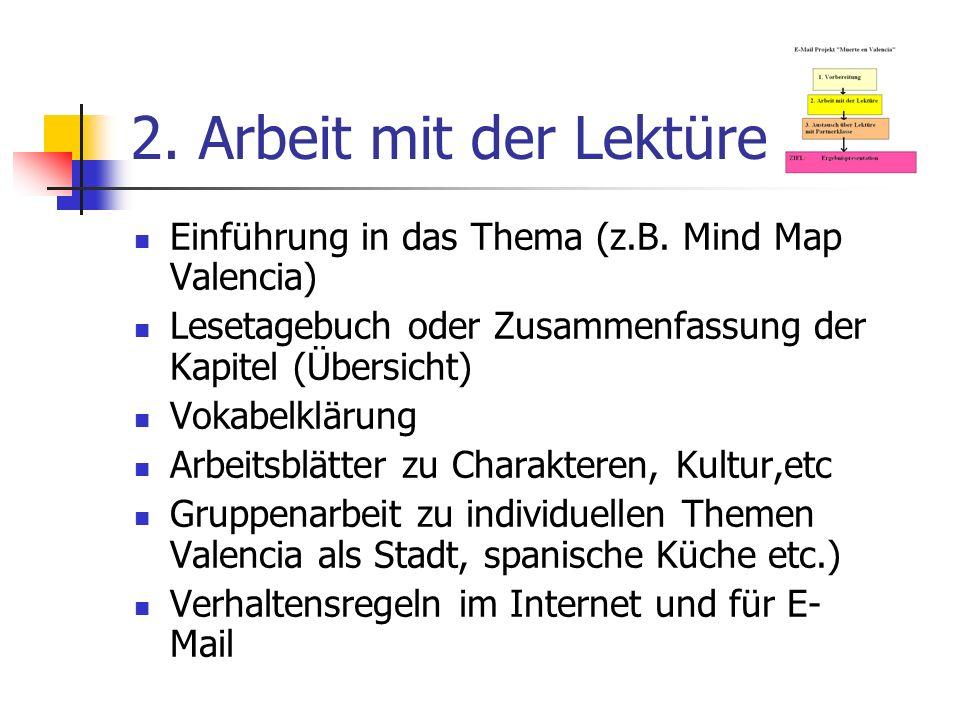 2. Arbeit mit der Lektüre Einführung in das Thema (z.B. Mind Map Valencia) Lesetagebuch oder Zusammenfassung der Kapitel (Übersicht) Vokabelklärung Ar