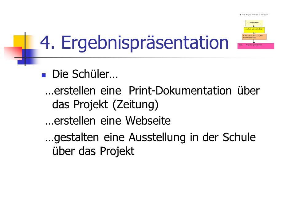 4. Ergebnispräsentation Die Schüler… …erstellen eine Print-Dokumentation über das Projekt (Zeitung) …erstellen eine Webseite …gestalten eine Ausstellu