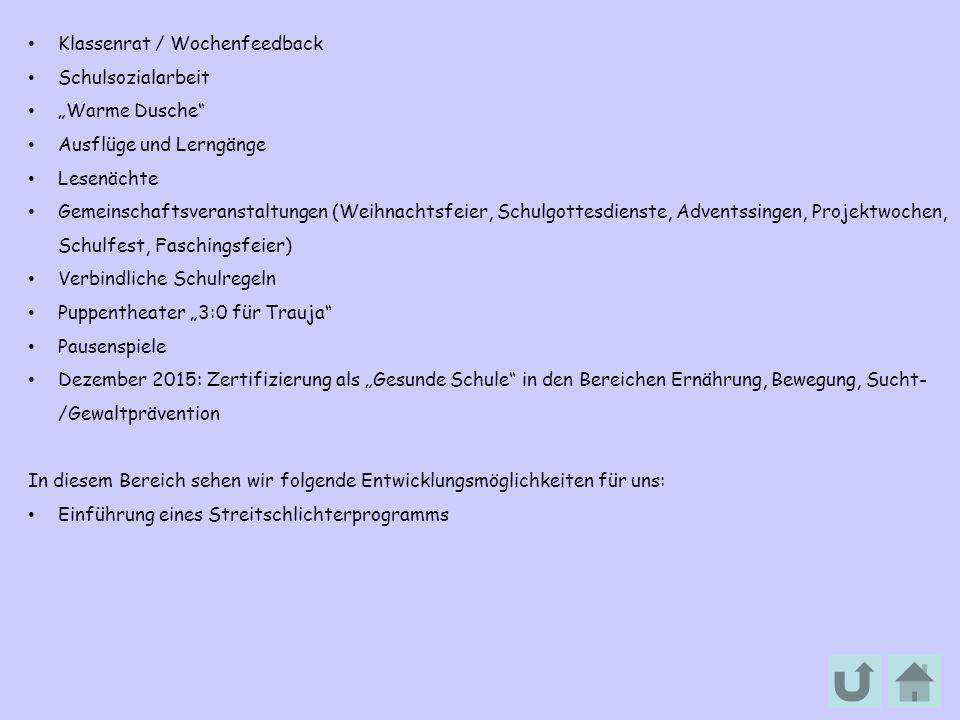 """Klassenrat / Wochenfeedback Schulsozialarbeit """"Warme Dusche"""" Ausflüge und Lerngänge Lesenächte Gemeinschaftsveranstaltungen (Weihnachtsfeier, Schulgot"""