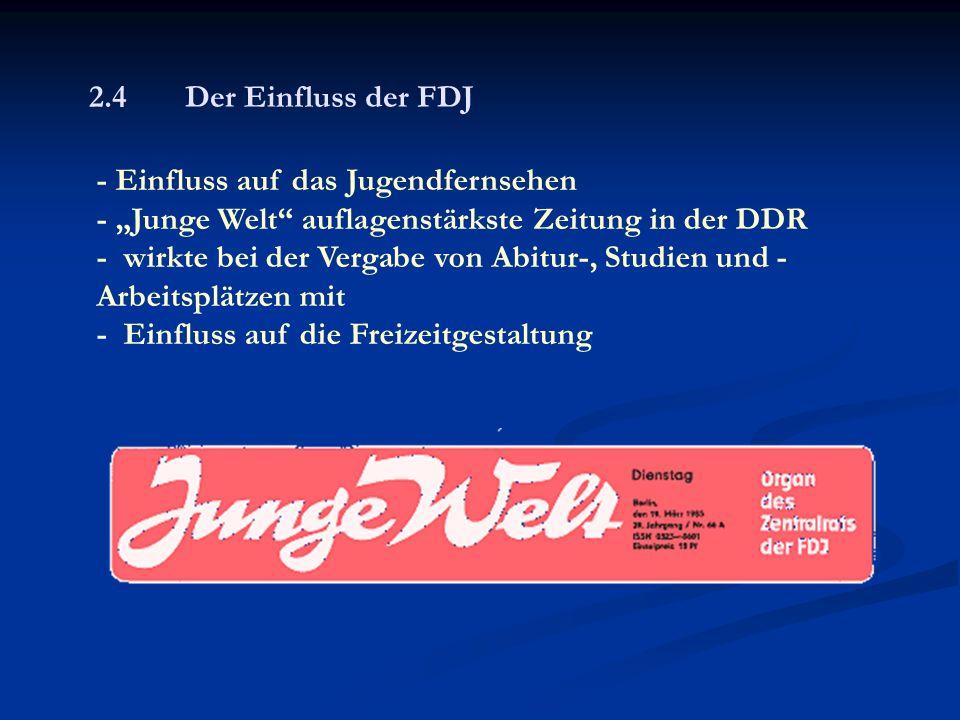 """2.4 Der Einfluss der FDJ - Einfluss auf das Jugendfernsehen - """"Junge Welt auflagenstärkste Zeitung in der DDR - wirkte bei der Vergabe von Abitur-, Studien und - Arbeitsplätzen mit - Einfluss auf die Freizeitgestaltung"""