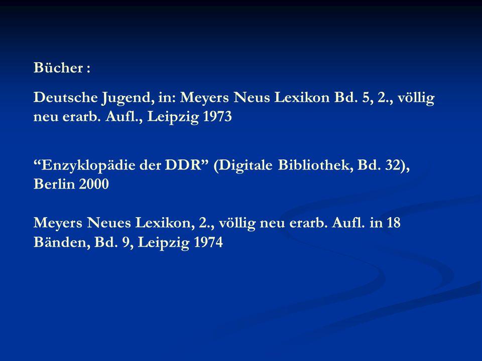 Bücher : Deutsche Jugend, in: Meyers Neus Lexikon Bd.
