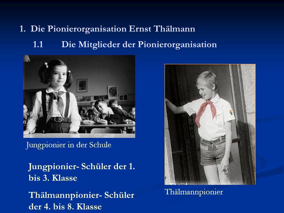 1.2 Aufgaben Ernst Thälmann, Arbeiterführer und Vorbild der Pioniere - Schüler zu aufrechten sozialistischen Patrioten und proletarischen Internationalisten erziehen - sollen später aktiv an Gestaltung des gesellschaftlichen Lebens in DDR teilnehmen - lehren unerschütterliche Freunde der Sowjetunion und der anderen sozialistischen Bruderländer zu sein - Hass auf Imperialismus beibringen
