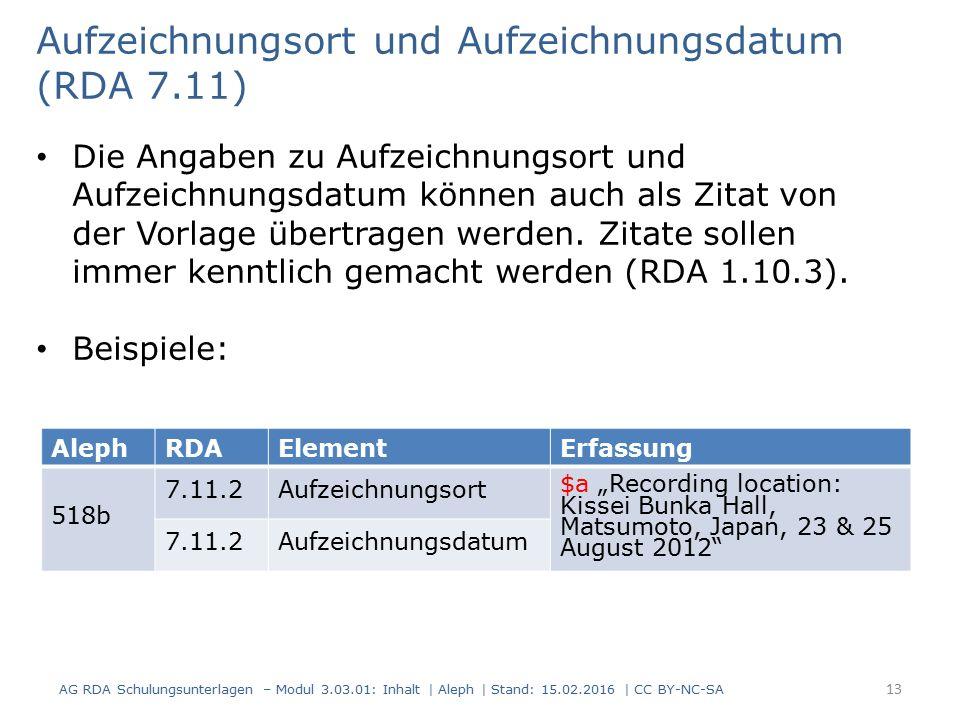 """AlephRDAElementErfassung 518b 7.11.2Aufzeichnungsort $a """"Recording location: Kissei Bunka Hall, Matsumoto, Japan, 23 & 25 August 2012"""" 7.11.2Aufzeichn"""