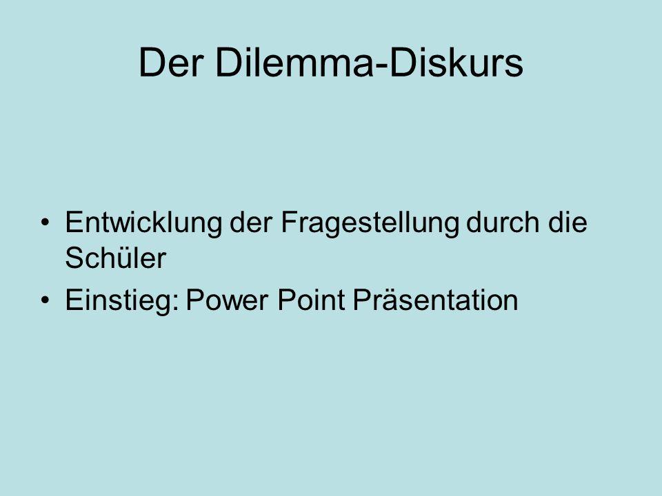 Der Dilemma-Diskurs Entwicklung der Fragestellung durch die Schüler Einstieg: Power Point Präsentation