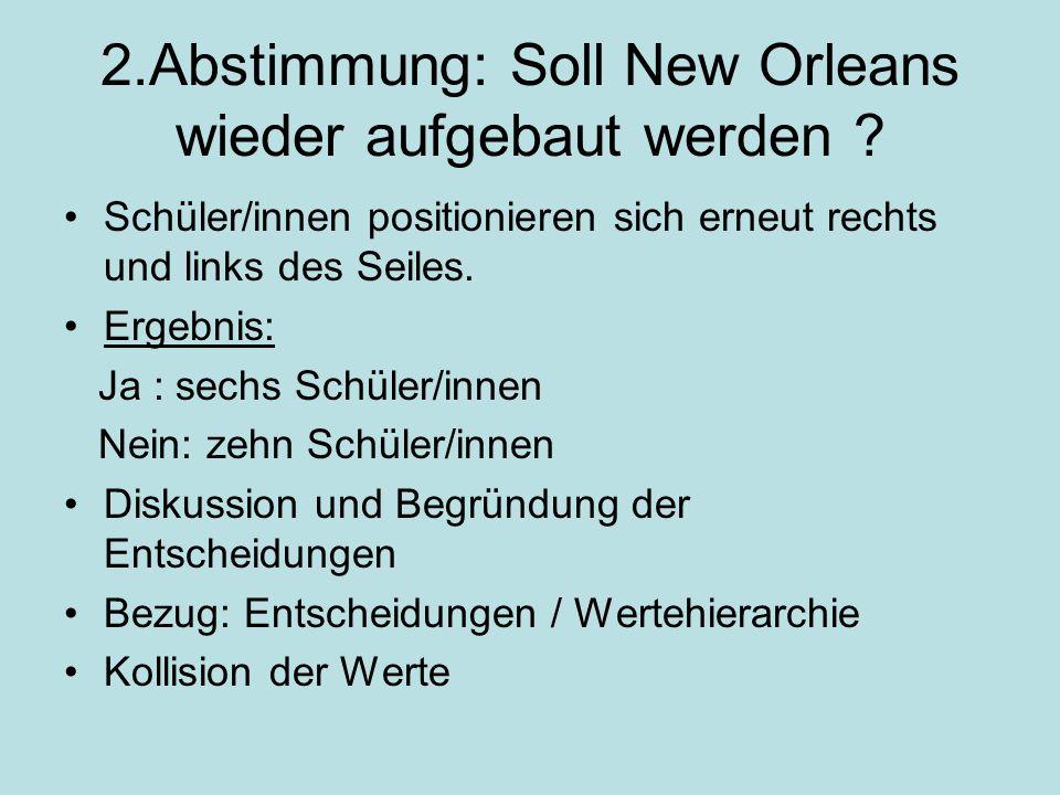 2.Abstimmung: Soll New Orleans wieder aufgebaut werden .