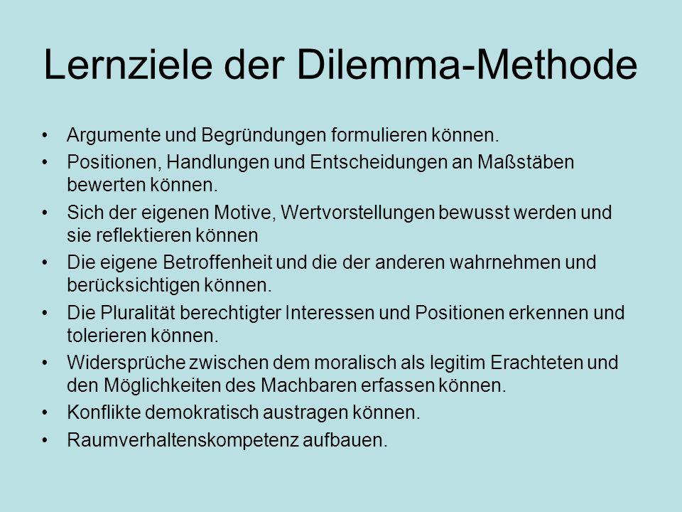 Lernziele der Dilemma-Methode Argumente und Begründungen formulieren können.