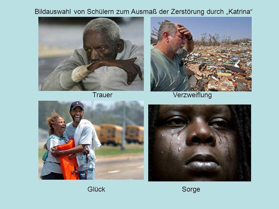 """Trauer Glück Verzweiflung Sorge Bildauswahl von Schülern zum Ausmaß der Zerstörung durch """"Katrina"""