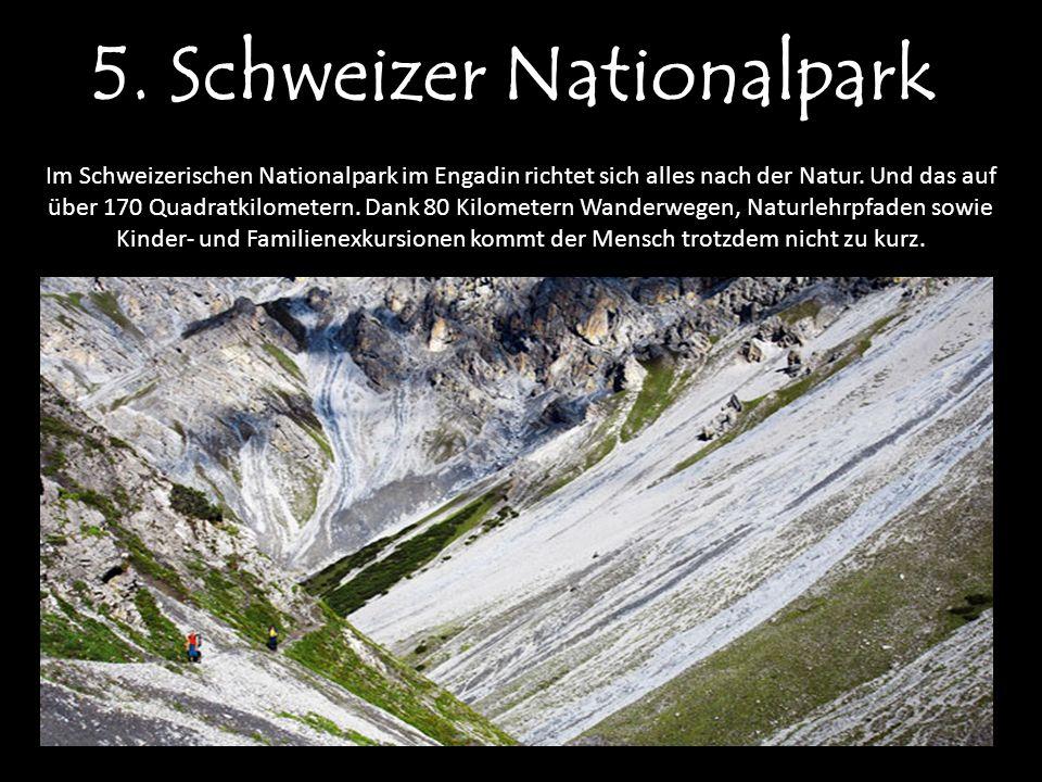 5. Schweizer Nationalpark Im Schweizerischen Nationalpark im Engadin richtet sich alles nach der Natur. Und das auf über 170 Quadratkilometern. Dank 8