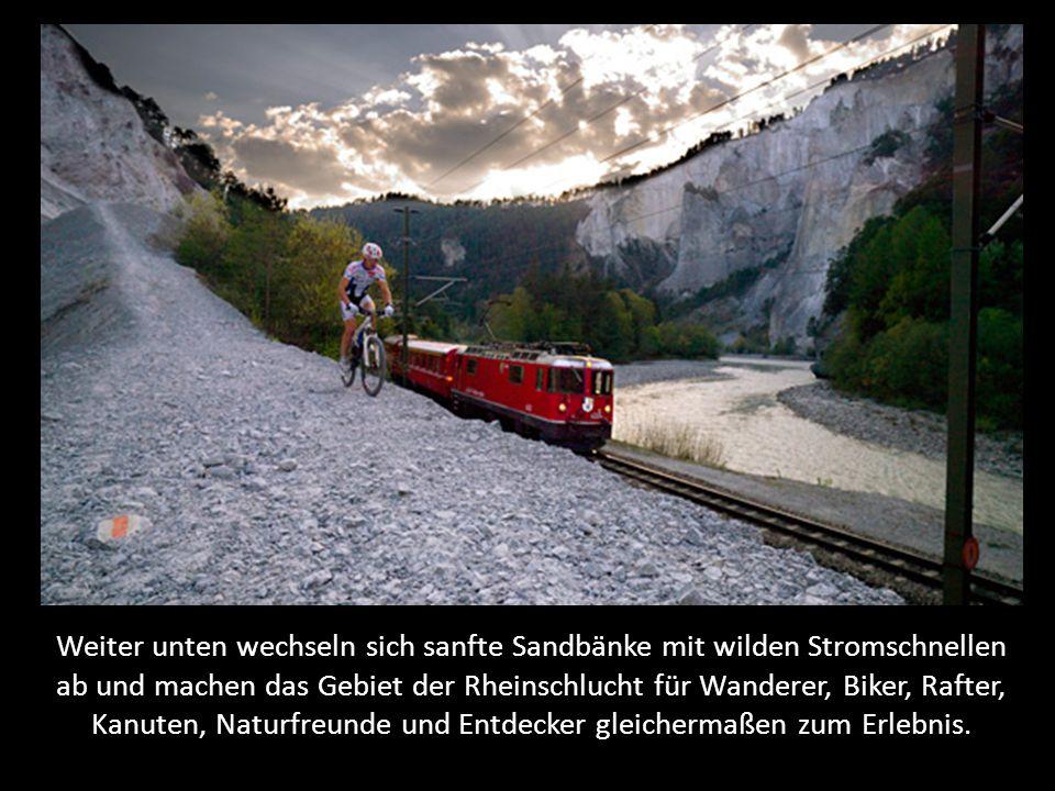 Weiter unten wechseln sich sanfte Sandbänke mit wilden Stromschnellen ab und machen das Gebiet der Rheinschlucht für Wanderer, Biker, Rafter, Kanuten, Naturfreunde und Entdecker gleichermaßen zum Erlebnis.