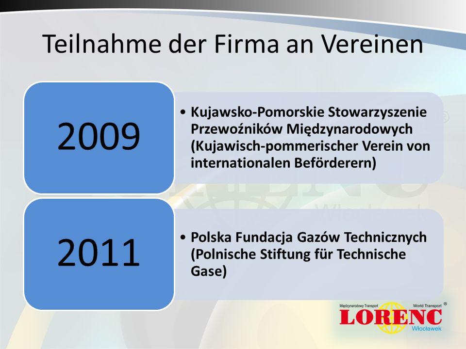 Teilnahme der Firma an Vereinen Kujawsko-Pomorskie Stowarzyszenie Przewoźników Międzynarodowych (Kujawisch-pommerischer Verein von internationalen Bef
