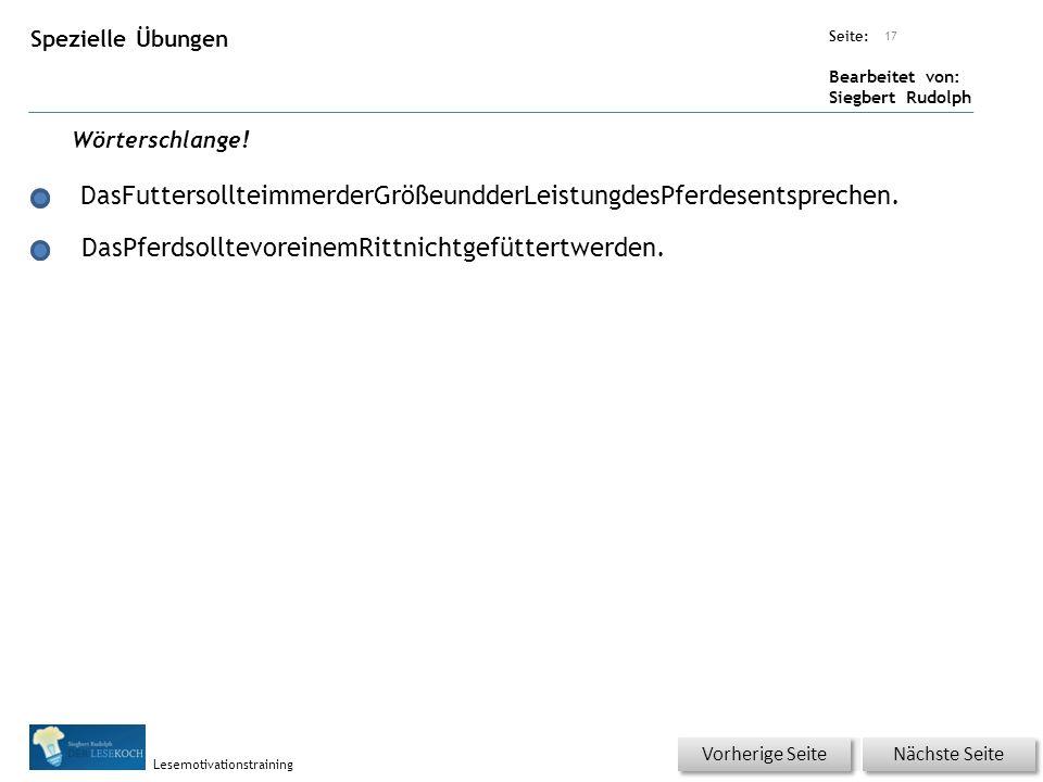 Übungsart: Seite: Bearbeitet von: Siegbert Rudolph Lesemotivationstraining Spezielle Übungen Titel: Quelle: Wörterschlange.