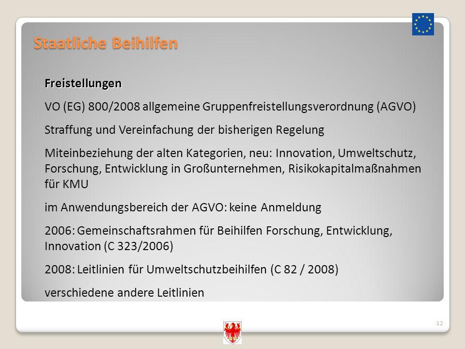 Staatliche Beihilfen 12 Freistellungen VO (EG) 800/2008 allgemeine Gruppenfreistellungsverordnung (AGVO) Straffung und Vereinfachung der bisherigen Re