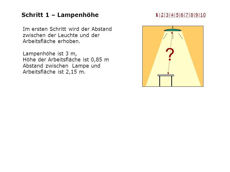 Schritt 1 – Lampenhöhe Im ersten Schritt wird der Abstand zwischen der Leuchte und der Arbeitsfläche erhoben. Lampenhöhe ist 3 m, Höhe der Arbeitsfläc