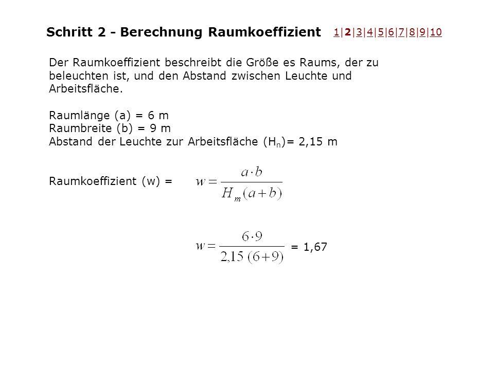 Schritt 2 - Berechnung Raumkoeffizient Der Raumkoeffizient beschreibt die Größe es Raums, der zu beleuchten ist, und den Abstand zwischen Leuchte und Arbeitsfläche.