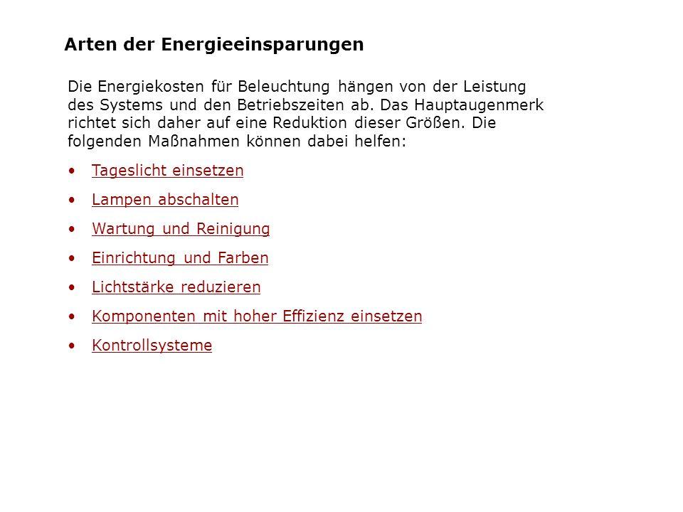 Arten der Energieeinsparungen Die Energiekosten für Beleuchtung hängen von der Leistung des Systems und den Betriebszeiten ab. Das Hauptaugenmerk rich