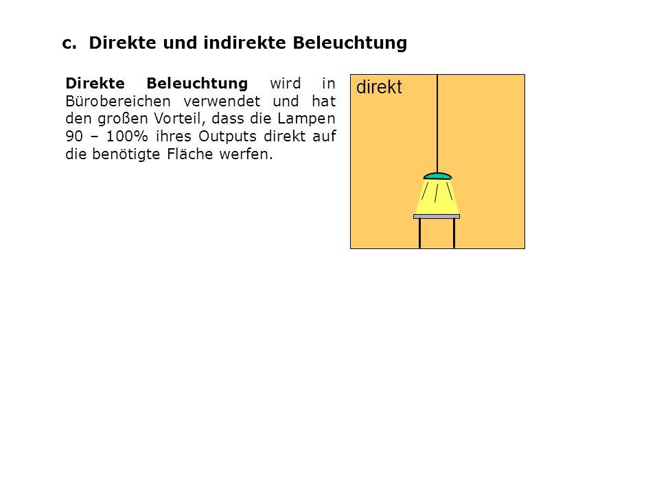 c. Direkte und indirekte Beleuchtung Direkte Beleuchtung wird in Bürobereichen verwendet und hat den großen Vorteil, dass die Lampen 90 – 100% ihres O