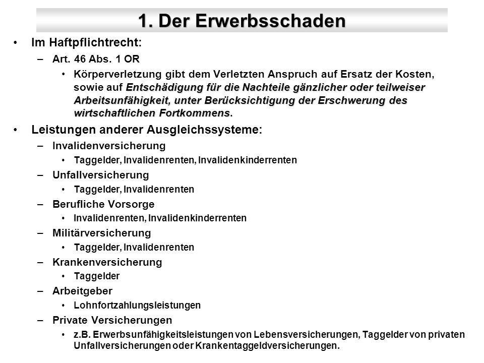 1. Der Erwerbsschaden Im Haftpflichtrecht: –Art. 46 Abs.