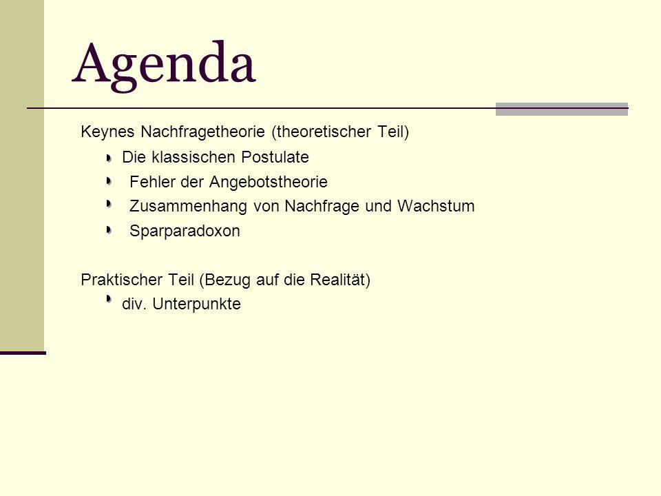 Agenda Keynes Nachfragetheorie (theoretischer Teil) Die klassischen Postulate Fehler der Angebotstheorie Zusammenhang von Nachfrage und Wachstum Sparparadoxon Praktischer Teil (Bezug auf die Realität) div.
