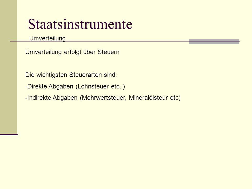 Staatsinstrumente Umverteilung Umverteilung erfolgt über Steuern Die wichtigsten Steuerarten sind: -Direkte Abgaben (Lohnsteuer etc.