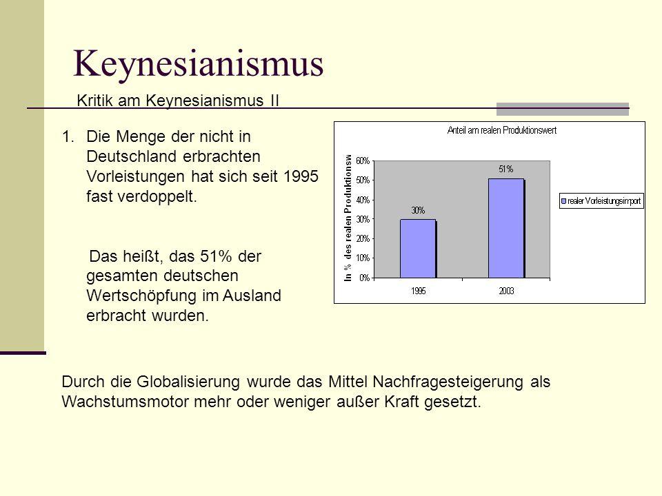 1.Die Menge der nicht in Deutschland erbrachten Vorleistungen hat sich seit 1995 fast verdoppelt.