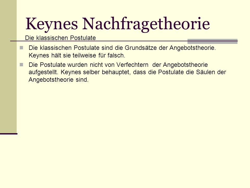Keynes Nachfragetheorie Die klassischen Postulate sind die Grundsätze der Angebotstheorie.