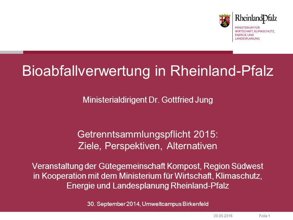 Folie 130.05.2016 Bioabfallverwertung in Rheinland-Pfalz Ministerialdirigent Dr. Gottfried Jung Getrenntsammlungspflicht 2015: Ziele, Perspektiven, Al