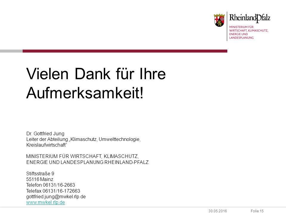 """Folie 1530.05.2016 Vielen Dank für Ihre Aufmerksamkeit! Dr. Gottfried Jung Leiter der Abteilung """"Klimaschutz, Umwelttechnologie, Kreislaufwirtschaft"""""""