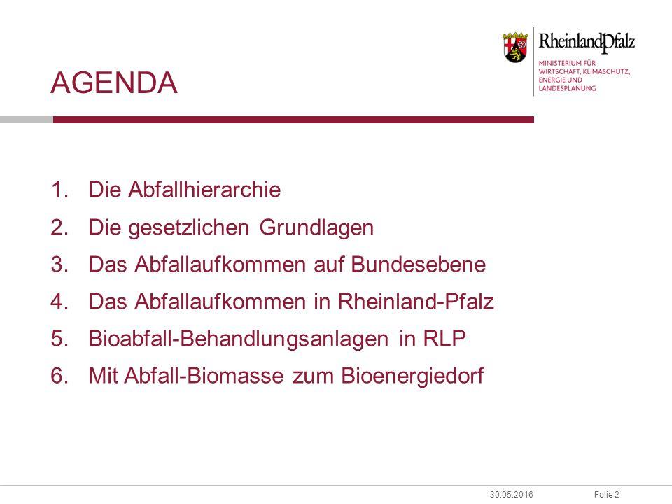 Folie 230.05.2016 AGENDA 1.Die Abfallhierarchie 2.Die gesetzlichen Grundlagen 3.Das Abfallaufkommen auf Bundesebene 4.Das Abfallaufkommen in Rheinland-Pfalz 5.Bioabfall-Behandlungsanlagen in RLP 6.Mit Abfall-Biomasse zum Bioenergiedorf