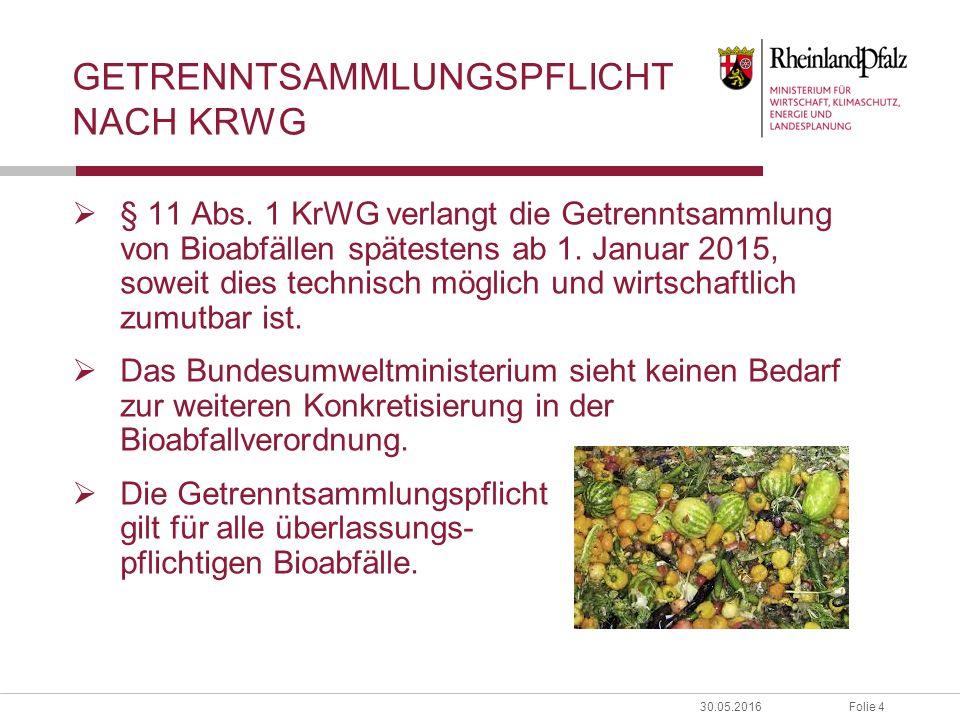 Folie 430.05.2016 GETRENNTSAMMLUNGSPFLICHT NACH KRWG  § 11 Abs. 1 KrWG verlangt die Getrenntsammlung von Bioabfällen spätestens ab 1. Januar 2015, so