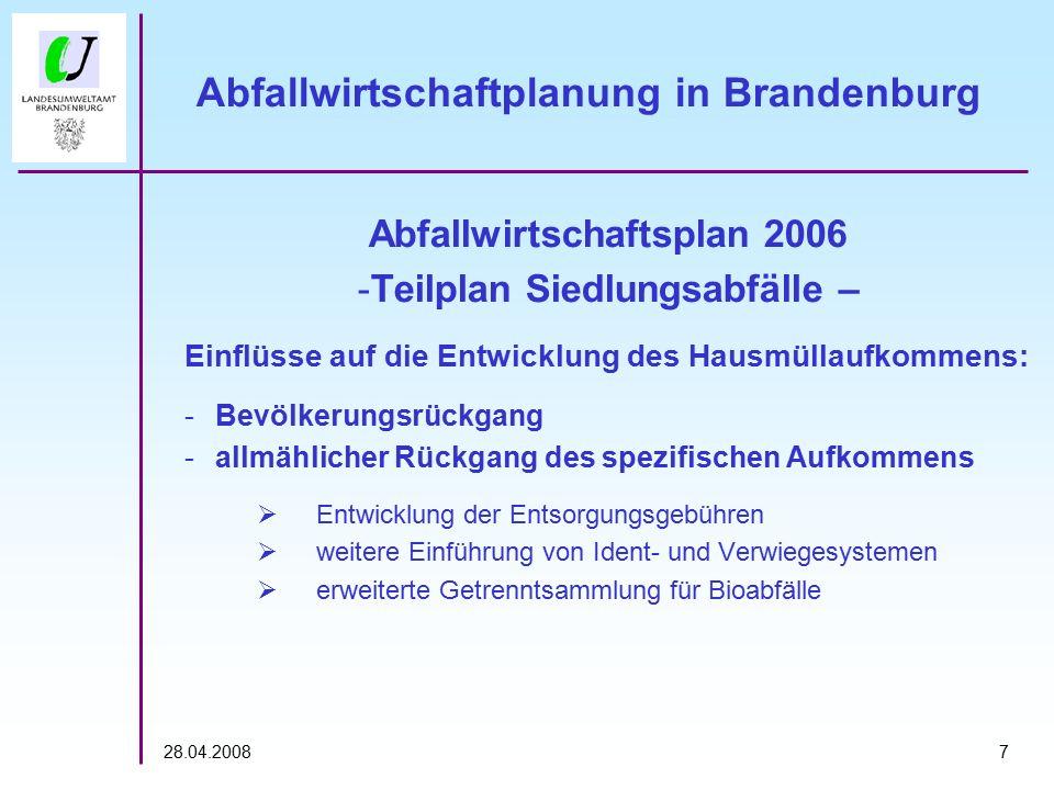 728.04.2008 Abfallwirtschaftplanung in Brandenburg Abfallwirtschaftsplan 2006 -Teilplan Siedlungsabfälle – Einflüsse auf die Entwicklung des Hausmülla