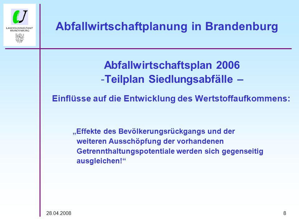 """828.04.2008 Abfallwirtschaftplanung in Brandenburg Abfallwirtschaftsplan 2006 -Teilplan Siedlungsabfälle – Einflüsse auf die Entwicklung des Wertstoffaufkommens: """"Effekte des Bevölkerungsrückgangs und der weiteren Ausschöpfung der vorhandenen Getrennthaltungspotentiale werden sich gegenseitig ausgleichen!"""