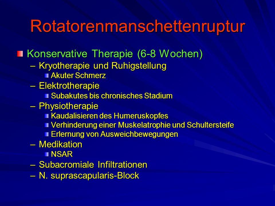 Rotatorenmanschettenruptur Konservative Therapie (6-8 Wochen) –Kryotherapie und Ruhigstellung Akuter Schmerz –Elektrotherapie Subakutes bis chronische