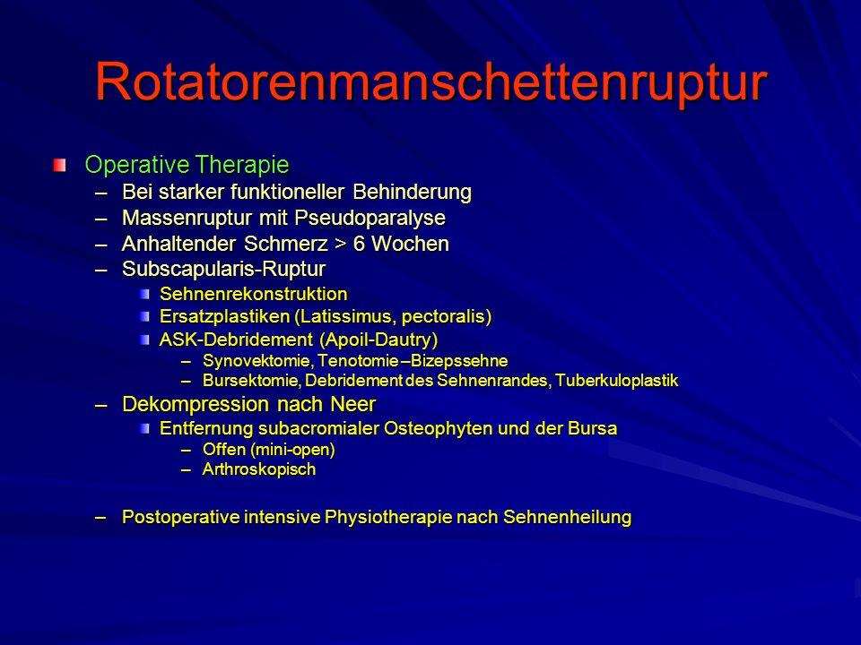 Rotatorenmanschettenruptur Operative Therapie –Bei starker funktioneller Behinderung –Massenruptur mit Pseudoparalyse –Anhaltender Schmerz > 6 Wochen